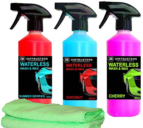 dirtbusters-waterless-car-wash-and-wax-summer-berries-coconut-cherry-3-x-500ml-1-spray-and-2-refills