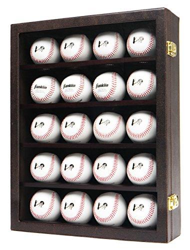 Wandhalterung Vitrine (JackCubeDesign 20 Baseball-Vitrine Wandhalterung Ledergehäuse Holzregal Aufbewahrungsbox aus Acryl mit Schutzknopf 2 (braun, 36 x 10 x 45,7 cm) -: MK104D)