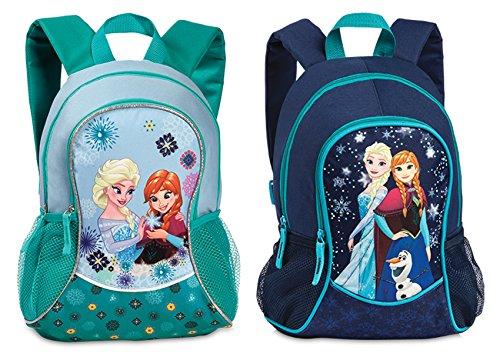 """Kinderrucksack Anna & Elsa aus """"Die Eiskönigin"""" Mädchen Rucksack Tasche mit extra Vortasche & Netzfächern in Blau"""