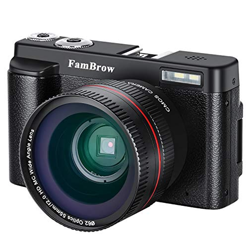 Videocámara Camara Fotos,FamBrow Cámara Compacta Full HD 1080P WiFi 24MP Camara de Video Digital Zoom 16x Gran Angular Lente Rotación de 3.0 Pulgadas Pantalla