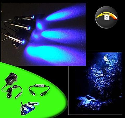 CREATIVE LIGHTS Aquarium Mondlicht dimmbar, LED 3-fach Spot schwenkbar - Komplettset inkl. Netzteil und