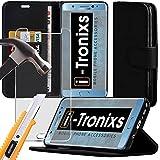 ( noir ) Faux Coque Cuir Sony Xperia XZ, Étui, Housse Portefeuille Porte Carte Et en Cuir pour Sony Xperia XZ+ protecteurs d'écran en verre trempé, chiffon de polissage Sony Xperia XZ par i-Tronixs