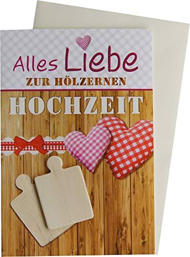 Horn Glückwunschkarte Grußkarte Hölzerne Hochzeit 5 Jahre 93-H1002