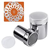 SOSMAR 18/8 Stainless Steel Chocolate Shaker/Dredgers/Sprinkler Icing Sugar Salt Cocoa Flour Coffee Latte Cappuccino Mesh Sifter with Lid, 16 Pcs Coffee Stencils & Clip