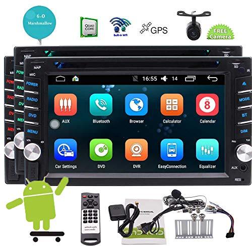 EINCAR Android 6.0 Doppel-DIN-6.2 Touchscreen-Radio Car Audio DVD-Player Receiver 2Din GPS-Ger?t Stereo Bluetooth-Bildschirm Spiegel SWC mit wasserdichter Unterstützungskamera & Wireless Remote