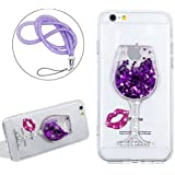 Brillant Coque pour iPhone 6/6S Plus Anti choc,Girlyard Femme Fille Etui Bling Bling Liquide Etoile Paillette Strass Eau Water Swag 3D Lumineuse Sables Mouvants Colore Verre de Vin Dessin pour iPhone 6/6S Plus + Luxe Brillante Cordon (Pourpre)