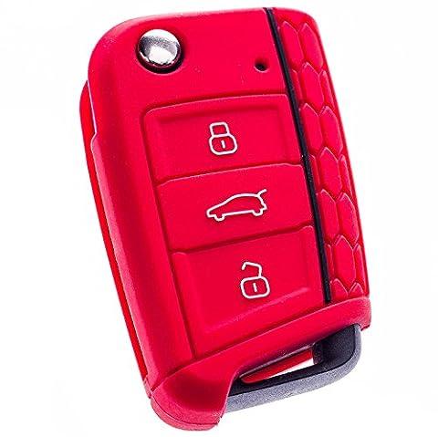Seat Leon 5F, Red, SC - ST - Key Silicone Cover Case Cover, Car Key Fob, Folding Key · Premium