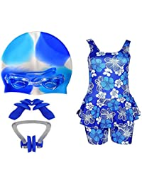 399e6bfbe2 Golden Girl Girls Swimming Kit with Swimming Costume Swimming Goggles  Silicone Swimming Cap 1 Nose Clip 2 Ear Plugs (Multicolor_12-13…