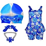 Golden Girl Girls Swimming Kit with Swimming Costume Swimming Goggles Silicone Swimming Cap 1 Nose Clip 2 Ear Plugs (Multicolor_12-13 Years)