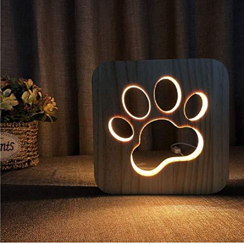 Nachtlicht 3D Optische Täuschung Lampe Hund Pfote Holz Led Schlafzimmer Dekoration Warmweiß Kinderzimmer Geburtstagsgeschenk Für Kinder Freunde