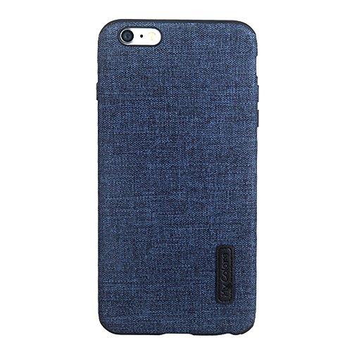 MOONCASE iPhone 6 Plus/iPhone 6s Plus Cover, Custodie Morbide TPU Antigraffio Antiurto Protettive [Fabric Pattern] Resiliente Armor Case Cover per iPhone 6 Plus/iPhone 6s Plus 5.5 Orange Dark Blue-2