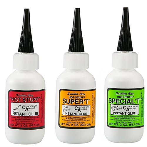 Satellite City CA Glue Set of 3 - (1) Original Thin, (1) Super T Medium, (1) Special T Thick - 2 oz Bottles by Satellite City (Ca Super Glue)