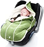 Wallaboo Footmuff Faux Suede and Soft Shearling - Newborn up to 12 Months, Lime Green