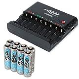 ANSMANN Batterieladegerät Powerline 8 für Akku Batterien inkl. 8x AA 2400mAh Accus - Universal Ladegerät, 8-fach multi Akkuladegerät zum Laden & Entladen für AA & AAA Akkus & USB Port