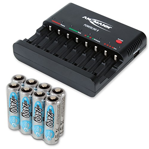 ANSMANN Powerline 8 Akku-Ladegerät Testsieger (Vergleich.org 08/2015) für 8x Mignon AA/Micro AAA Akkubatterien mit Entladefunktion + 8x 2400 maxE AA Akku