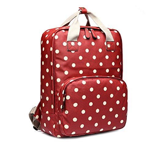 Miss Lulu - Mochila unisex con estampado de lunares y tela de aceite, unisex, bolsa grande para ordenador portátil (1807D2 rojo)