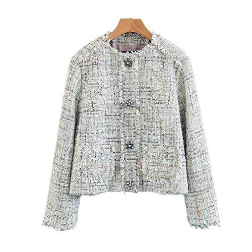 WJMM Damen Blazer Mit Frauen Oansatz Tweed Coat Mit Knöpfen Slim Frauen Tweed Jacken Feminine Top, Top, S -