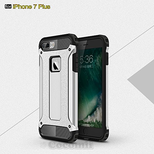 iPhone 8 Plus / 7 Plus Hülle, Cocomii Commando Armor NEW [Heavy Duty] Premium Tactical Grip Dustproof Shockproof Hard Bumper Shell [Military Defender] Full Body Dual Layer Rugged Cover Case Schutzhüll Silver