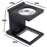 KKmoon 10X 28 mm de aleación de zinc Mini Lupa plegable con escala para la herramienta Lupa plegable Tela vidrio óptico