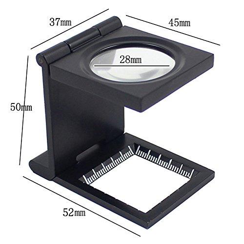 Galleria fotografica KKmoon 10X 28mm Mini Lente d'Ingrandimento Pieghevole in Lega di Zinco Magnifier con Scala per Tessile Strumento d'Ingrandimento di Vetro Ottico