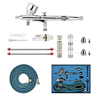 ABEST Professional 0.2mm\0.3mm\0.5mm Dual action AirBrush Spray Paint Gun Kit Complete Set for General-purpose Art-and-craft Projects Tattoo Model-railroad Detailing R/C Car Bodies Plastic Kits