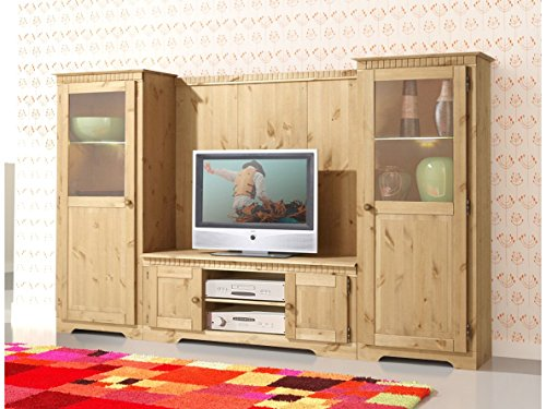 Wohnwand MARIANNE aus Kiefer massiv, gebeizt geölt – 4499010 - 2