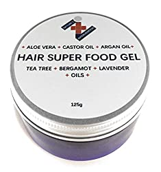 HAIR SUPER FOOD GEL - ALOE VERA, CASTOR & ARGAN OILS, with Tea Tree, Bergamot and Lavender- 125g - NATURE'S INTERVENTION.CONDITIONS, MOISTURISES and NOURISHES Scalp and Hair. Promotes Hair Growth.