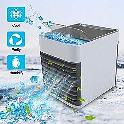 Refroidisseur d'air - Mini Climatiseur Portable, Ventilateur USB 3 EN 1 Réglable Air Climatiseur Mobile Mini Air Refroidisseur Humidificateur Purificateur