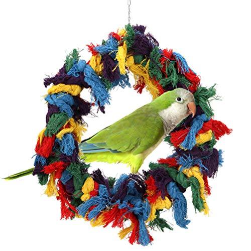 POPETPOP Vogel Kuscheln Ring-Papagei Baumwolle putzen Putzseile Bunte hängende Schaukel für Amazonen afrikanische grau kleine Kakadus Conure -