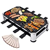 B-ZWEB Raclette Grill for 8 Person Electric Indoor BBQ Party Cooking Grills