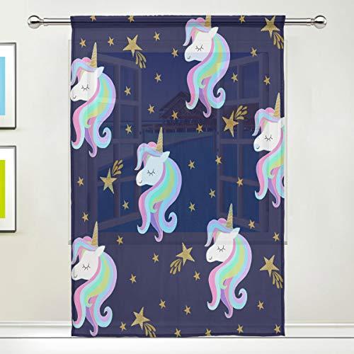 BIGJOKE Cortina de Gasa para Ventana, diseño de Unicornio Galaxy, para Cocina, Sala de Estar, Dormitorio, Oficina, 1 Unidad, 55x78 Inches