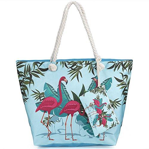 Sac de Plage Vacances Fourre-Tout Grand Avec Zip, ZWOOS Pochette sac à Main Sac de Shopping Pour Femme et Filles (Flamant 3)