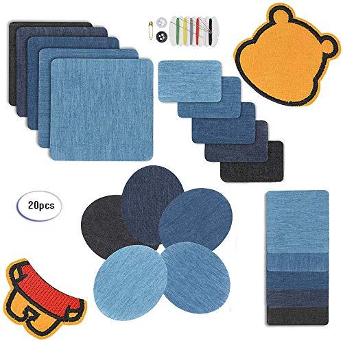 Fun Sponsor Patches Zum aufbügeln,Kostenloses Bärenpflaster, Denim Baumwolle Patches Bügeleisen Reparatursatz Aufbügelflicken Bügelflicken Jeans Flicken aufbügeln (22pcs)