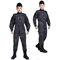 Noga Python camuflaje gorra de uniforme Militar uniforme de combate traje Gorra de caza juegos de Paintball chaqueta + pantalones traje, color  - Black Python Camouflage, tamaño large