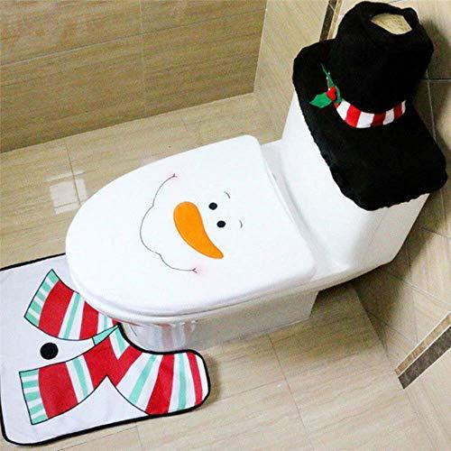 3PCS / Set Weihnachtstoilettensitzabdeckung Weihnachtsmann Deer Teppich Fancy Snowman Abdeckung Badezimmer Mat Weihnachten Dekor Produkt Badezimmer Cover, Schneemann