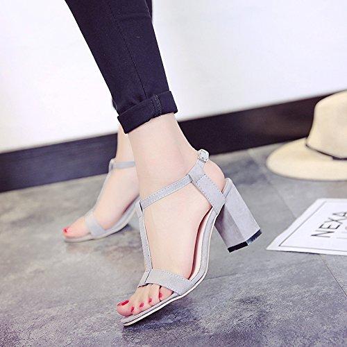 XY&GK Donna Sandali estivi furetto femmina con spessi High-Heeled sandali Toeless coreano scarpe moda All-Match scarpe alla moda gray