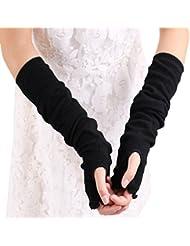 AiSi 1 Paire Elastique Manche Anti UV Manchettes Bras Protection Femme pour Sport Plein Air Cyclisme Running Noir