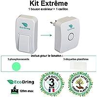 EcoDring - Sonnette Ecologique Sans fil Sans pile EXTREME - garantie 3 ans, max 120m, résistant à l'eau + stickers pour nom + phosphorescents, blanche, 25 mélodies, 1 bouton + 1 carillon