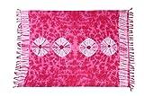 Ciffre Sarong Strandtuch Tuch Schal Lunghi Pareo Dhoti Wickelrock Blume Batik Pink + Schnalle