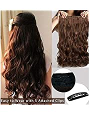 Pema Hair Extensions And Wigs Natural Clip-In Wavy Curly Hair Extension (Brown)