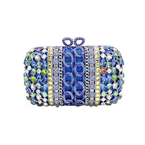 Frauen-Luxuxdiamant-Abendbeutel-Kristallhandtasche Blue