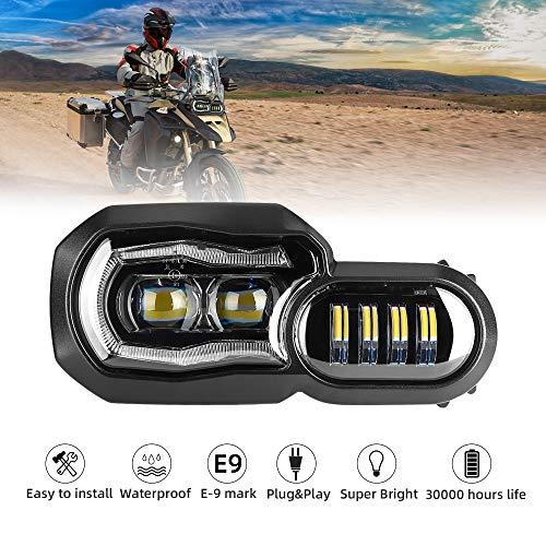 LED Scheinwerfer für Motorrad mit Angel Eyes DRL Montage, E-Mark E-Prüfzeichen, wasserdicht DC12-24 V Scheinwerfer für F800GS F700GS