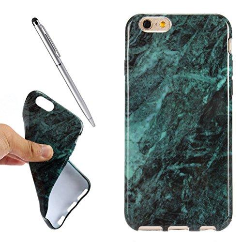 iPhone 6Marble Case, vioela Cool [Perfect Fit] Ultra Morbido Silicone TPU glaezende marmo pietra del reticolo di struttura flessibile in gomma Custodia Back Cover per Apple Iphone 66S 4.7inch with  profondo verde