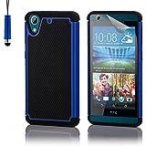 HTC Desire 626 Funda Carcasa Rígida Shockproof de Doble Capa de Alta Proteccion Defender de 32nd®, incluye protector de pantalla, paño de limpieza y lápiz optico - Azul