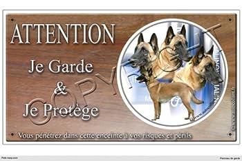 Panneau chien ou plaque Malinois-03 30 cm