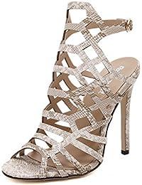 ZWME Zapatos Romanos De Las Mujeres De Alta Moda Peep Toe Pumps Cut Out Wedding Party Dress Stiletto Slingback Shoes