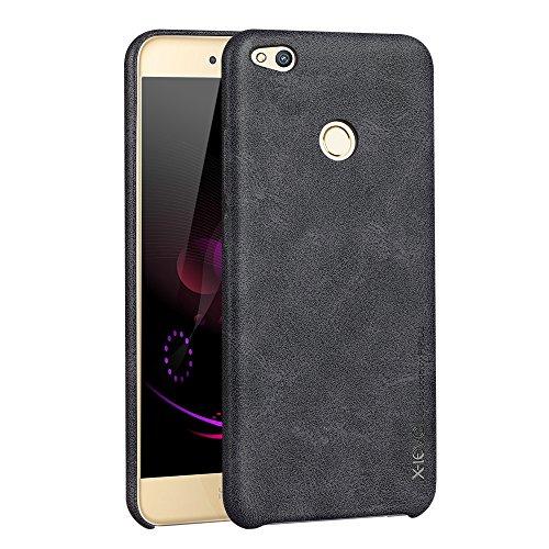Preisvergleich Produktbild Huawei P8 Lite 2017 Hülle, X-level [Vintage Serie] Soft Retro [Schwarz] Premium PU Leder Gutes Gefühl Handyhülle Schutzhülle für Huawei P8 Lite(2017) Case Cover