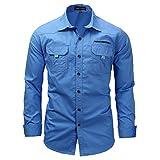 Kuson Herren Langarm Hemd Outdoorhemd Hemden Freizeit Bügelleicht Baumwolle Button-down Blau M