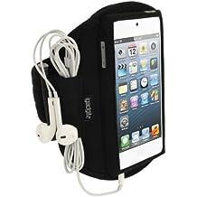 igadgitz Schwarz Wasserabweisend Neopren Sportarmband für Apple iPod Touch 6. Generation (ab Juli 2015) & 5. Generation (2012–2015)