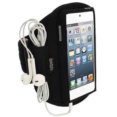 igadgitz Noir Armband Brassard Sport pour Apple iPod Touch 6ème Génération (Juillet 2015) & 5ème Génération (2012-2015) Sport Gym Jogging
